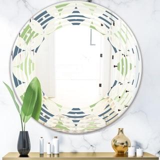 Designart 'Retro Geometric Design V' Modern Round or Oval Wall Mirror - Wave