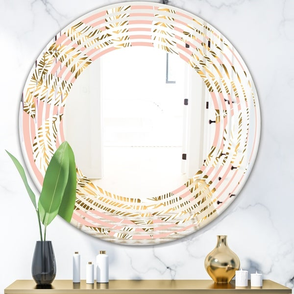 Designart 'Golden Foliage IV' Modern Round or Oval Wall Mirror - Wave