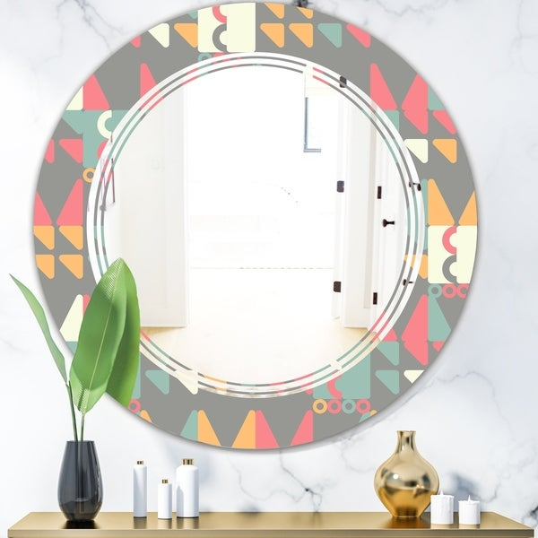 Designart 'Retro Abstract Design V' Modern Round or Oval Wall Mirror - Triple C
