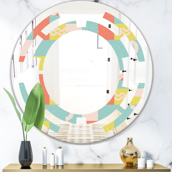 Designart 'Retro Abstract Design III' Modern Round or Oval Wall Mirror - Space