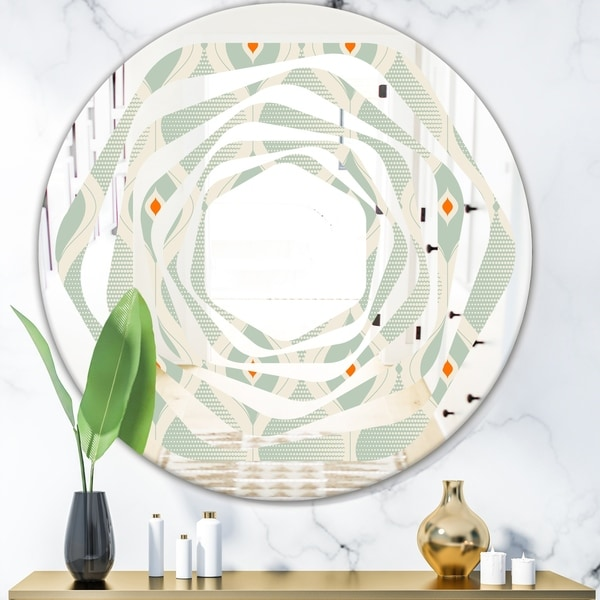 Designart 'Retro Abstract Drops VII' Modern Round or Oval Wall Mirror - Whirl