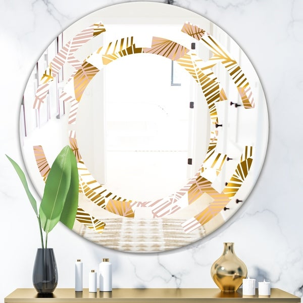 Designart 'Golden Palm Leaves II' Modern Round or Oval Wall Mirror - Space