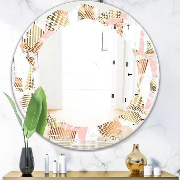 Designart 'Gold and Rose Cubes I' Modern Round or Oval Wall Mirror - Leaves