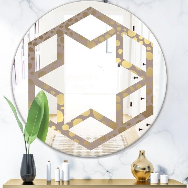 Designart 'Golden Marble Design III' Modern Round or Oval Wall Mirror - Hexagon Star