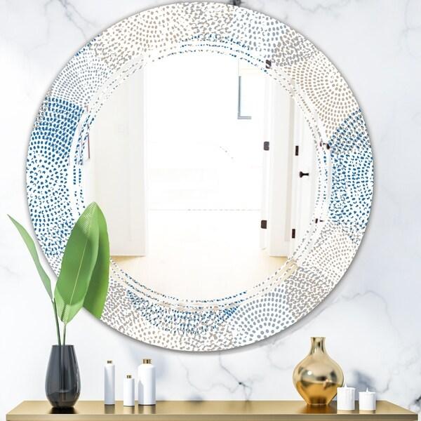 Designart 'Abstract Retro Design I' Modern Round or Oval Wall Mirror - Triple C