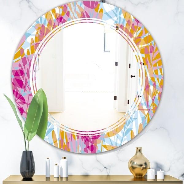 Designart 'Retro Floral Pattern III' Modern Round or Oval Wall Mirror - Triple C