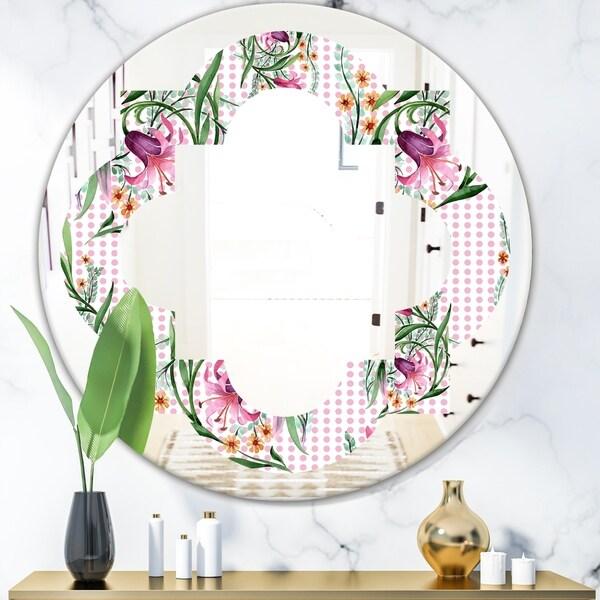 Designart 'Floral Botanical Retro X' Modern Round or Oval Wall Mirror - Quatrefoil