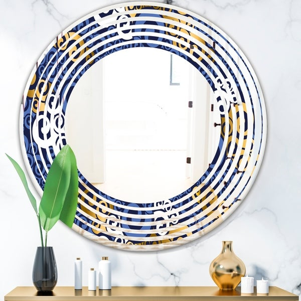 Designart 'Retro Luxury Waves In Gold and Blue III' Modern Round or Oval Wall Mirror - Wave