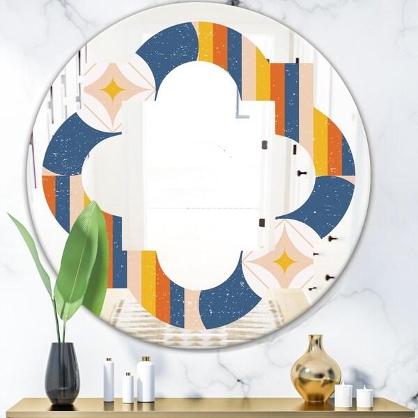 Designart 'Retro Floral Pattern XI' Modern Round or Oval Wall Mirror - Quatrefoil