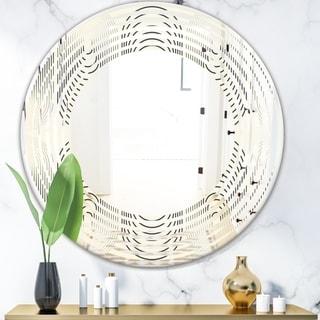 Designart 'Monochrome Geometric Pattern X' Modern Round or Oval Wall Mirror - Wave