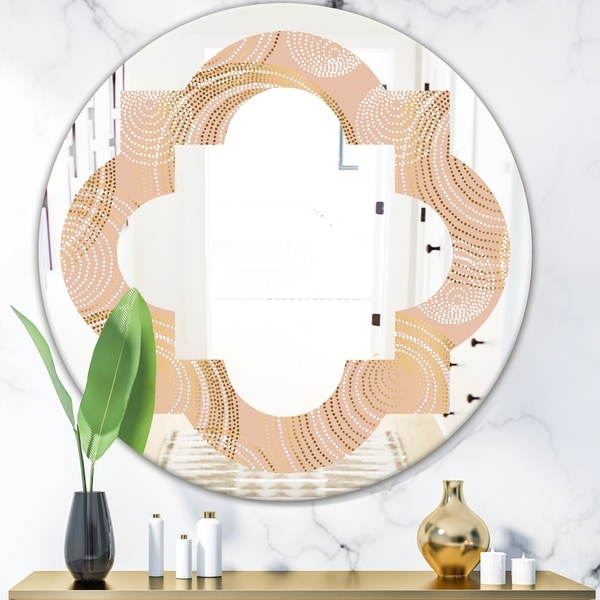Designart 'Rose Gold Abstract Geometry Luxury' Modern Round or Oval Wall Mirror - Quatrefoil