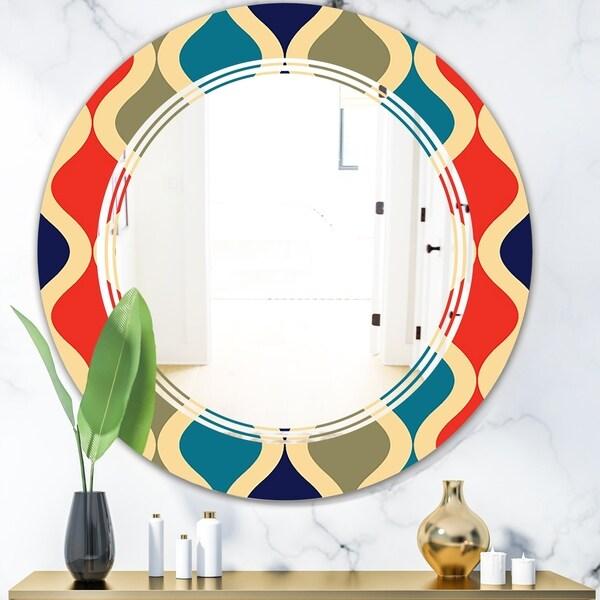 Designart 'Retro Ornamental Design VI' Modern Round or Oval Wall Mirror - Triple C - Multi