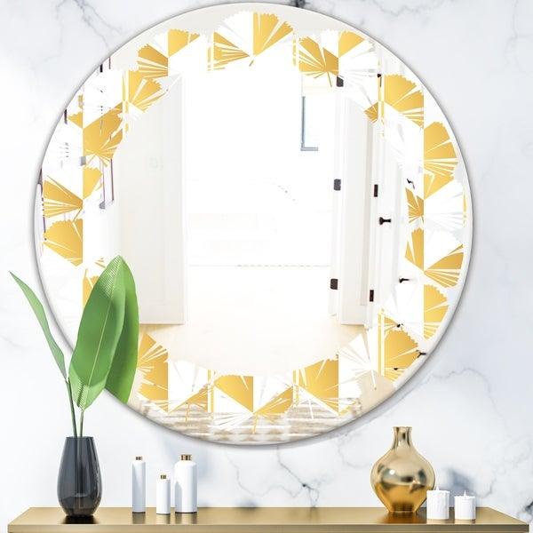 Designart 'Gold and White Geometric Pattern I' Modern Round or Oval Wall Mirror - Leaves