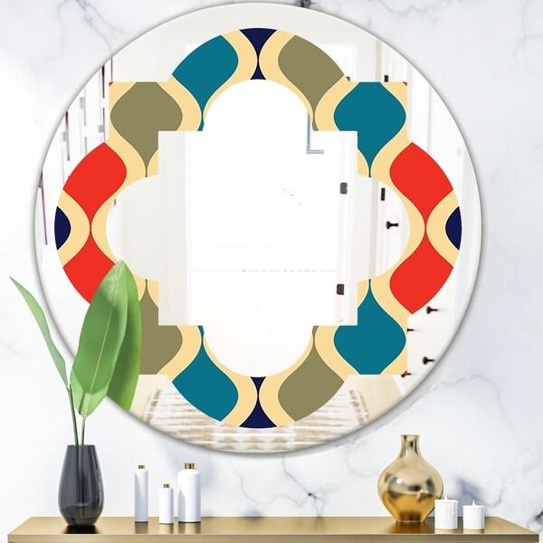 Designart 'Retro Ornamental Design VI' Modern Round or Oval Wall Mirror - Quatrefoil - Multi