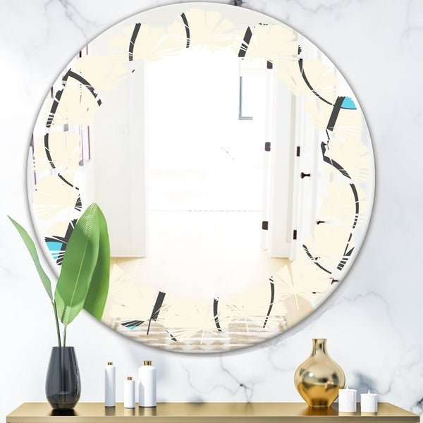 Designart 'Retro Geometrical Abstract Minimal Pattern I' Modern Round or Oval Wall Mirror - Leaves