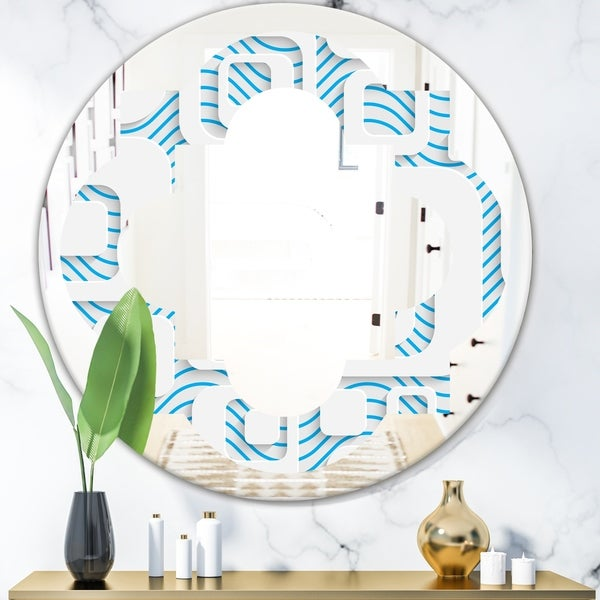 Designart '3D White and Blue Pattern I' Modern Round or Oval Wall Mirror - Quatrefoil