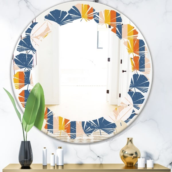 Designart 'Retro Floral Pattern XI' Modern Round or Oval Wall Mirror - Leaves