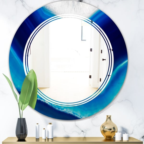 Designart 'Blue Slice agate crystal' Modern Round or Oval Wall Mirror - Triple C