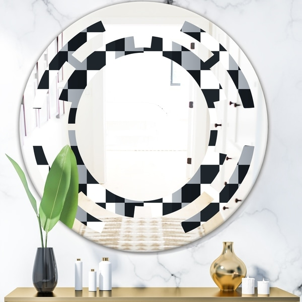 Designart 'Geometric Monochrome Pattern I' Modern Round or Oval Wall Mirror - Space