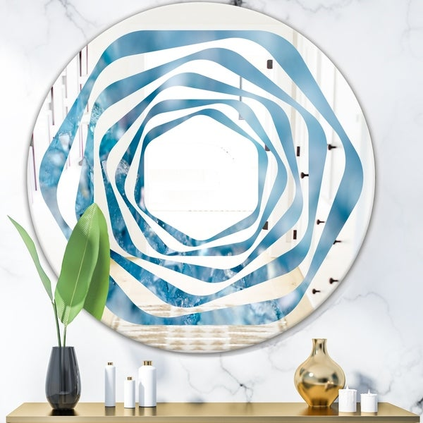 Designart 'Blue crystals Agate' Modern Round or Oval Wall Mirror - Whirl