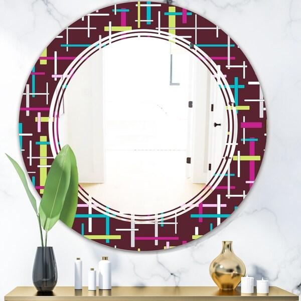 Designart 'Retro Abstract Design XVII' Modern Round or Oval Wall Mirror - Triple C - Multi