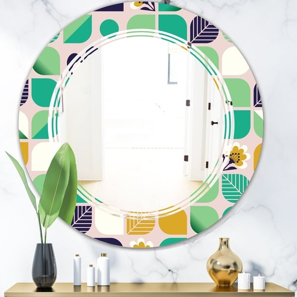 Designart 'geometric pattern with leaves and flowers' Modern Round or Oval Wall Mirror - Triple C