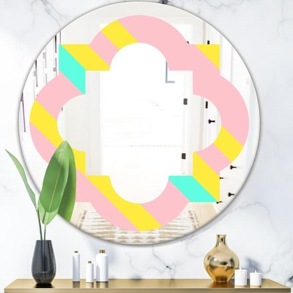 Designart 'Memphis Retro Neon Pattern' Modern Round or Oval Wall Mirror - Quatrefoil
