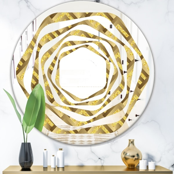 Designart 'Golden Plaid pattern' Modern Round or Oval Wall Mirror - Whirl