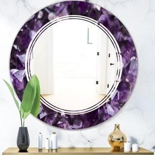 Designart 'Amethyst geode' Modern Round or Oval Wall Mirror - Triple C