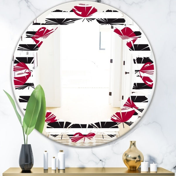 Designart 'Red Lips Fashion Pattern' Modern Round or Oval Wall Mirror - Leaves