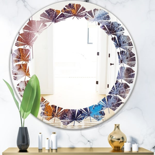 Designart 'Geode 3' Modern Round or Oval Wall Mirror - Leaves
