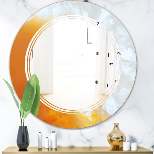 Designart 'True Yellow Stone' Modern Round or Oval Wall Mirror - Triple C
