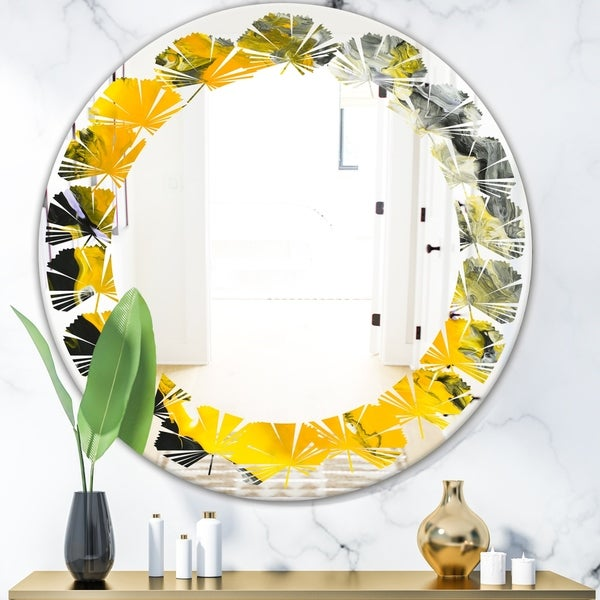 Designart 'Marbled Yellow 3' Modern Round or Oval Wall Mirror - Leaves