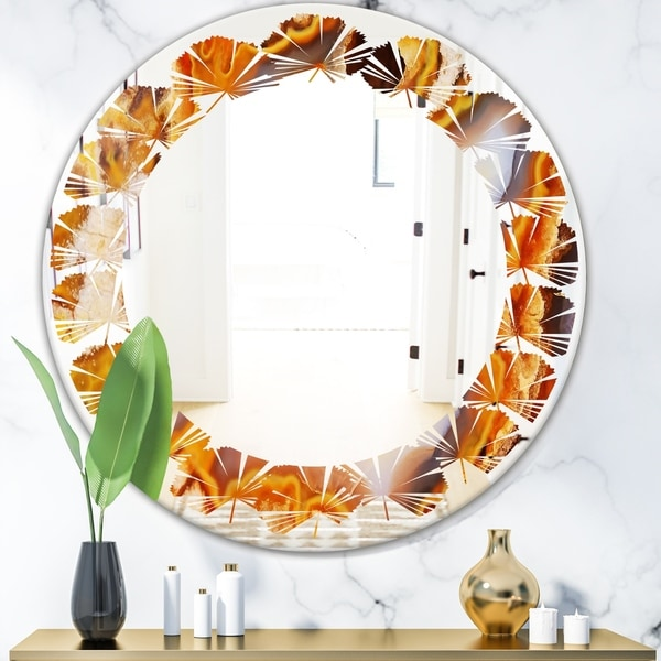 Designart 'Fire With Rrystals' Modern Round or Oval Wall Mirror - Leaves