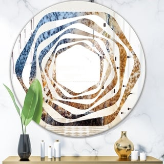Designart 'China Moss Agate' Modern Round or Oval Wall Mirror - Whirl