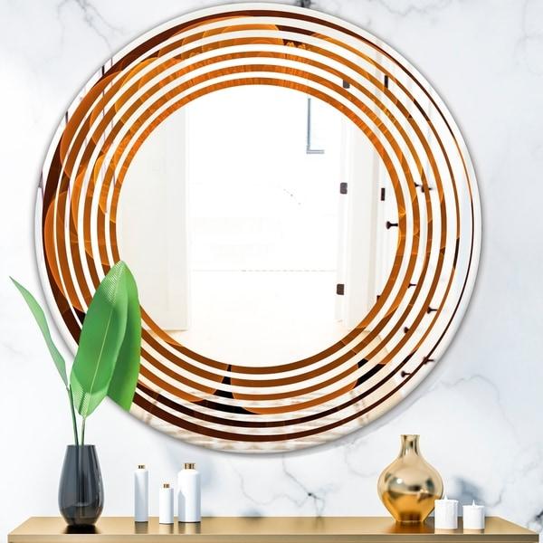 Designart 'Water Lily Digital Art Fractal Flower' Modern Round or Oval Wall Mirror - Wave