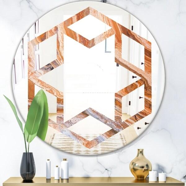 Designart 'Marbled Geode 2' Modern Round or Oval Wall Mirror - Hexagon Star