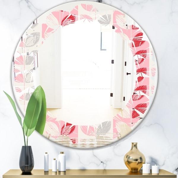 Designart 'Botanical Retro Design I' Modern Round or Oval Wall Mirror - Leaves