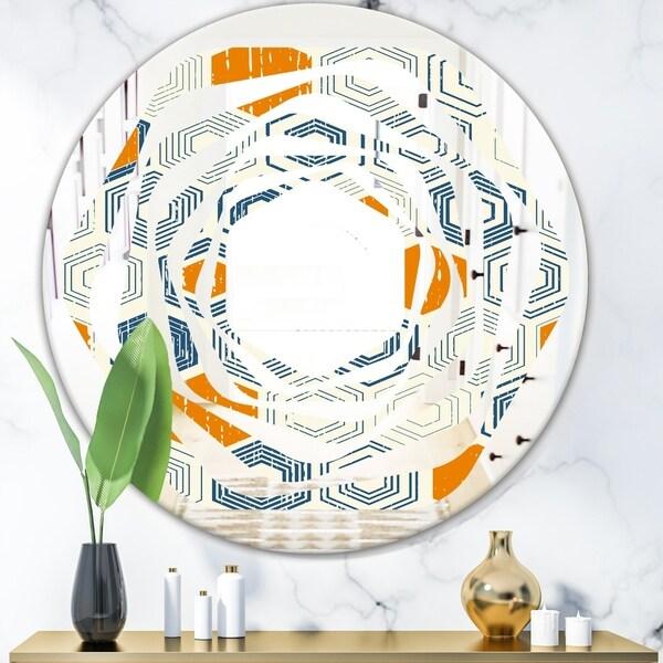 Designart 'Retro Hexagon Pattern IX' Modern Round or Oval Wall Mirror - Whirl
