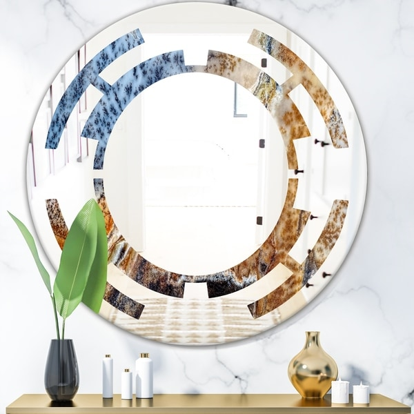 Designart 'China Moss Agate' Modern Round or Oval Wall Mirror - Space