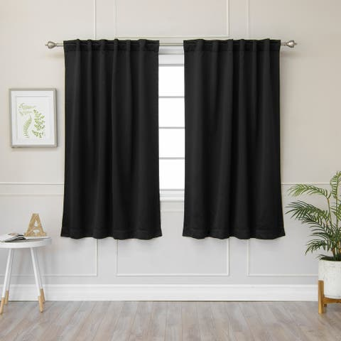 """Aurora Home Solid Insulated Thermal Blackout Curtain- Set of 2 panels - 52""""W x 54""""L"""