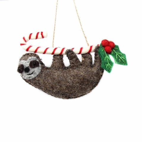 Handmade Felted Wool Christmas Ornament, Candy Cane Sloth-