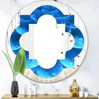 Designart 'Large Light Blue Flower and Petals' Modern Round or Oval Wall Mirror - Quatrefoil