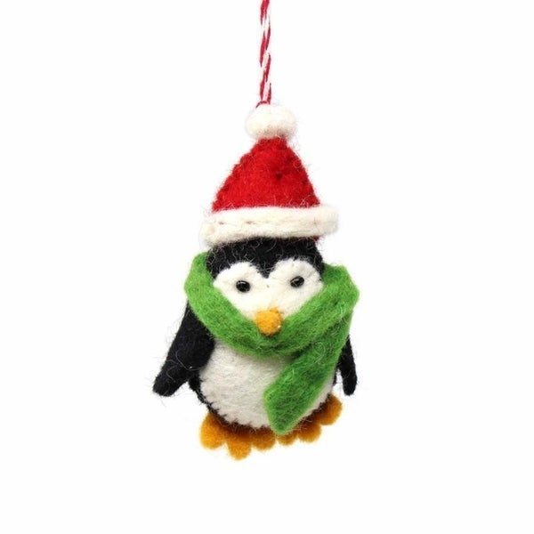 Handmade Felted Wool Christmas Ornament, Penguin-. Opens flyout.