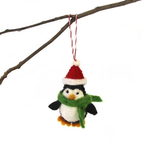 Handcrafted Gift Holiday Ornament Winter Wool Felt Penguin