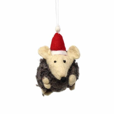 Handmade Felted Wool Christmas Ornament, Hedgehog