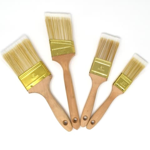 ALEKO Polyester Utility Paint Brush Variety Set of 4 for Home Exterior or Interior
