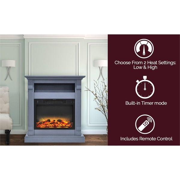 Cambridge Sienna 34 In. Electric Fireplace w/ Enhanced Log Display and Slate Blue Mantel