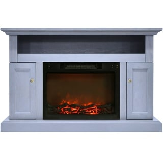 Cambridge Sorrento Electric Fireplace with 1500W  Log Insert and 47 In. Entertainment Stand in Slate Blue