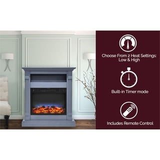 Cambridge Sienna 34 In. Electric Fireplace w/ Multi-Color LED Insert and Slate Blue Mantel